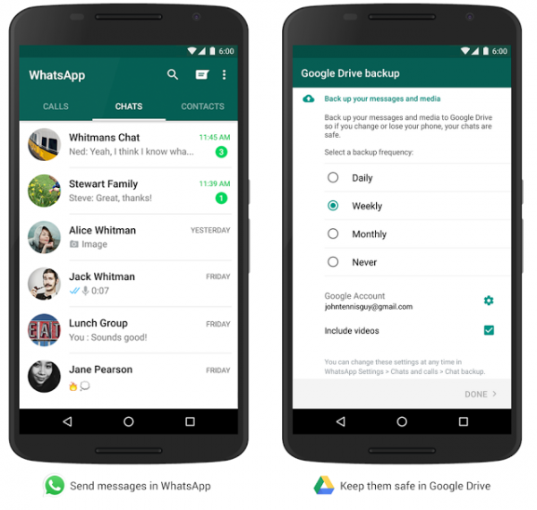 Whatsapp backup to googel drive directly